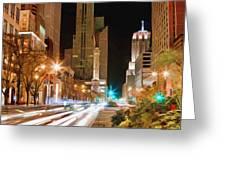 Chicago Michigan Avenue Light Streak Greeting Card