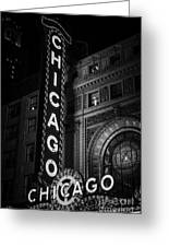 Chicago Theatre Sign In Black And White Greeting Card by Paul Velgos