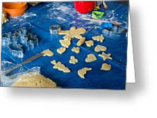 Children Baking Christmas Cookies Greeting Card