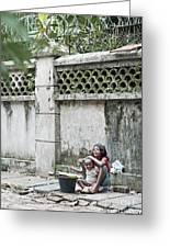 Children On Street Of Yangon Myanmar Greeting Card
