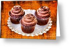 Chocolate Caramel Cupcakes Greeting Card