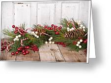 Christmas Berries On Wooden Background Greeting Card