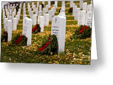 Christmas Wreaths Laid At The Arlington Cemetery Greeting Card