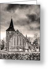 Church And Graveyard At Dusk Greeting Card