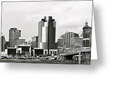 Cincinnati Black And White Panorama Greeting Card