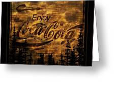 Coca Cola Wooden Sign Greeting Card
