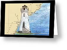 Cockspur Island Lighthouse Ga Nautical Chart Map Art Cathy Peek Greeting Card