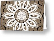Coffee Flowers 8 Olive Ornate Medallion Greeting Card