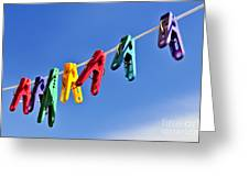 Colorful Clothes Pins Greeting Card