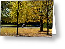 Colorful Fall Autumn Park Greeting Card