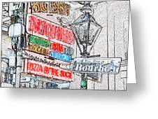 Colorful Neon Sign On Bourbon Street Corner French Quarter New Orleans Colored Pencil Digital Art Greeting Card