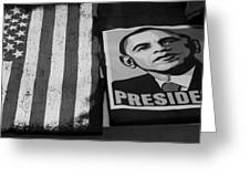 Commercialization Of The President Of The United States Of America In Black And White  Greeting Card by Rob Hans