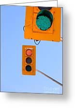 Confusing Green Red Traffic Lights Sky Copyspace Greeting Card