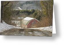 Country Road And Barn In Winter Maine Greeting Card
