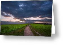 Countryside Landscape Path Leading Through Fields Towards Dramat Greeting Card
