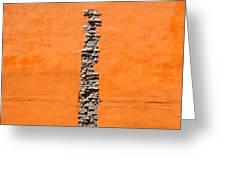 Crack Of Bricks In Orange Wall Greeting Card