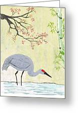 Crane In Pond Greeting Card