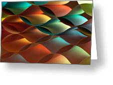 Curved Colorful Sheets Paper With Mirror Reflexions Greeting Card