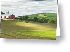 Cutting Hay In Summer On Maine Farm Greeting Card