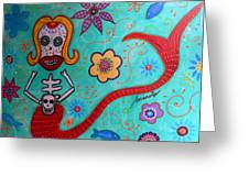 Day Of The Dead Mermaid Greeting Card