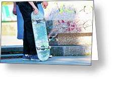 Detail Of Skateboard And Legs Greeting Card