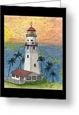 Diamond Head Lighthouse Hi Nautical Chart Map Art Greeting Card