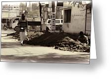 Digging A Ditch At The Side Of A Road In Roorkee Greeting Card
