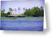 Digital Oil Painting - A Houseboat On Its Quiet Sojourn Through The Backwaters Greeting Card