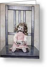 Doll With Tea Cup Greeting Card