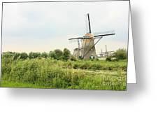 Dutch Landscape With Windmills Greeting Card