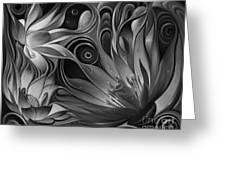 Dynamic Floral Fantasy Greeting Card