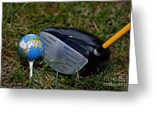 Earth Golf Ball And Golf Club Greeting Card