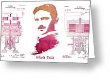 electric generator patent art Nikola Tesla Greeting Card