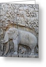 Elephant Sculpture At Mamallapuram  Greeting Card