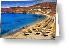Elia Beach In Mykonos Island Greeting Card