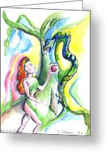 Eve And The Serpent Greeting Card