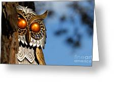 Faux Owl With Golden Eyes Greeting Card by Amy Cicconi