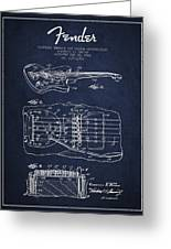 Fender Floating Tremolo Patent Drawing From 1961 - Navy Blue Greeting Card