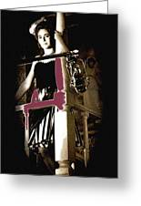Film Noir Dance Hall Girl Looks Down On Robert Mitchum The King Of Noir Filming Old Tucson Az 1968 Greeting Card