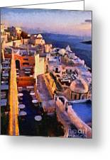 Fira City During Sunset Greeting Card