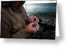 Fisherman Fishing While Storm Blows Greeting Card