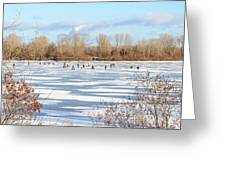 Fishermen On The Frozen River Greeting Card