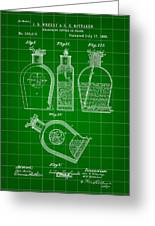 Flask Patent 1888 - Green Greeting Card