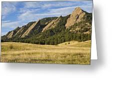 Flatirons With Golden Grass Boulder Colorado Greeting Card