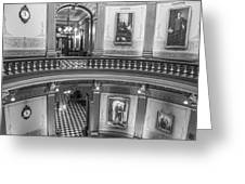 2 Floors Black And White Michigan State Capitol  Greeting Card