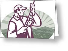 Fly Fisherman Fishing Retro Woodcut Greeting Card