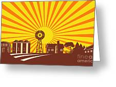 Forklift Truck Materials Handling Retro Greeting Card by Aloysius Patrimonio