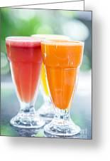 Fresh Orange Carrot And Watermelon Fruit Juice Greeting Card