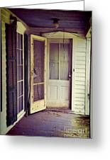 Front Door Of Abandoned House Greeting Card