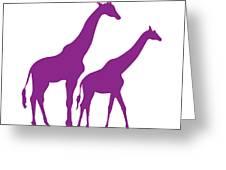 Giraffe In Purple And White Greeting Card